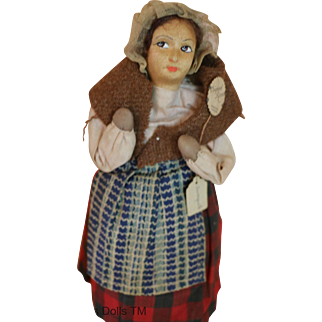 Antique French Ravca Cloth Doll w Tags, 9 IN