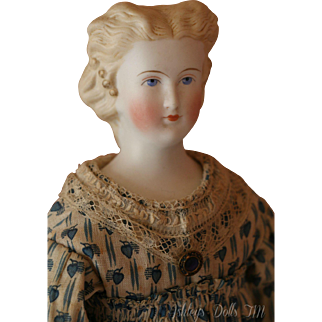 Antique Parian China Doll, 14.5 IN, Antique German Parian Doll, Antique Clothing