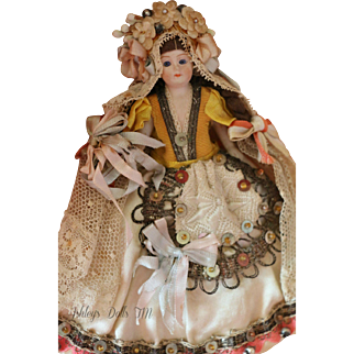 """Antique All Bisque Doll, 4.25"""" Antique German Bisque Doll, Jointed Antique Gown"""