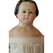 Antique Wax Doll, 24 IN, Glass Eyes, Wax over Composition Antique Doll, 1800's