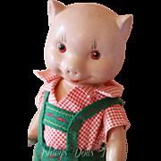Vintage Fruendlich Pig Doll, 11 IN, 1930's Composition Little Pig Doll