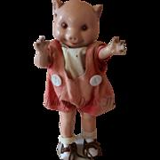 "Vintage Fruendlich Pig Doll, 11"", 1930s Composition Little Pig Doll Hard to Find"