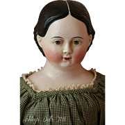 """Antique Greiner Type China Doll, 23"""" Antique China Doll, Brown Eyes"""