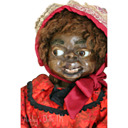 Mary McEwen Wax Doll, 21 IN, 1920's American Wax Doll, African American Doll,
