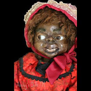 Mary McEwen Wax Doll, 21 IN, 1920's American Wax Doll, African American Doll,