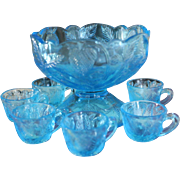 1908 Cambridge Glass Inverted Strawberry Child Doll Punch Bowl 7 pc Set, Blue