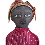 Maud Witherspoon Antique Black Cloth Doll, 19 IN Painted Flat Face Antique Cloth Doll Great Eyes