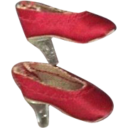 Vintage Madame Alexander Cissette Shoes, Vintage Red Satin Pumps, Clear Heels