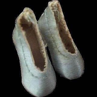 Vintage Madame Alexander Cissette Shoes, Vintage Blue Satin Pumps, Clear Heels