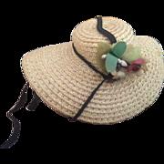 Vintage Madame Alexander Hat with Flowers, Vintage Straw Hat, Ribbon Ties