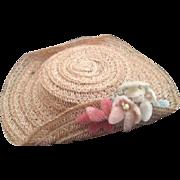 Vintage Madame Alexander Hat, Vintage Doll Hat, Straw Doll Hat