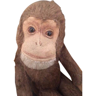 """Schuco Monkey """"Tricky"""" Vintage Schuco Yes/No Mohair Monkey, 10 IN, Germany"""