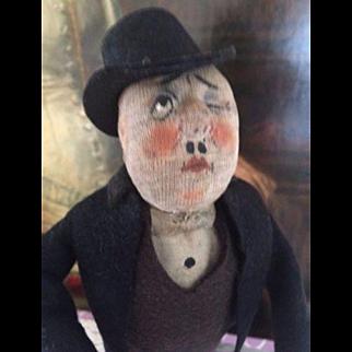 Antique Kammer & Reinhardt Cloth Character Doll, 1926 13 IN Gentleman Cloth Doll