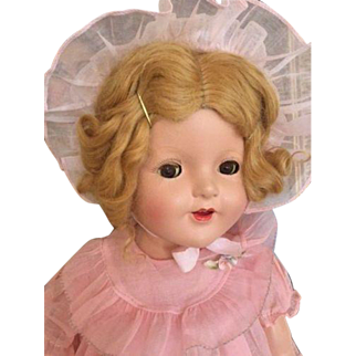 Vintage Composition Doll 25 IN Shirley Temple Type Original Costume, Mohair Wig!