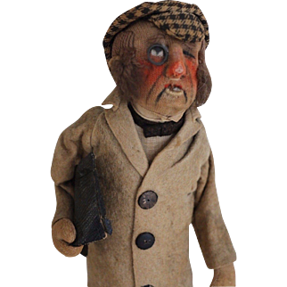 Antique Kammer & Reinhardt Cloth Character Doll w Monocle, 1926 13 Inches Felt
