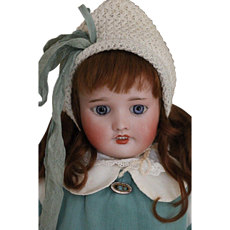 Antique SFBJ #232 French Bisque Doll, 17 IN, SFBJ Paris French Doll, Jewel Eyes