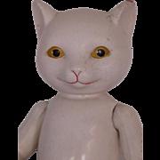 """Vintage Fruendlich Cat Doll, 10 3/4"""", 1930's Ralph Fruendlich Doll, White Cat"""