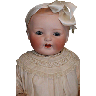 Antique Louis Amberg Bisque Vanta Baby, 23 IN, Rare German Bisque Doll, Ca. 1927