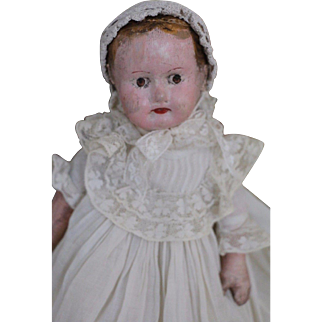 "Antique Alabama Baby Doll, 14.5"", Antique Cloth Doll, Ella Smith Indestructible"