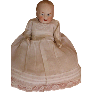 Antique Limbach All Bisque Doll, 5 IN, Antique All Bisque Baby Doll w Costume!
