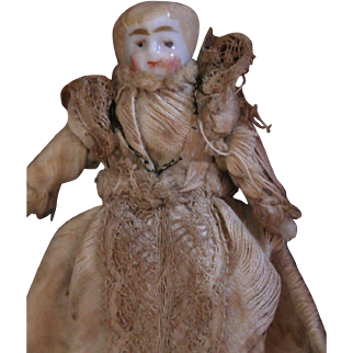 Antique German China Head Doll in Gown, Tiny China Doll in Antique Gown, Blonde