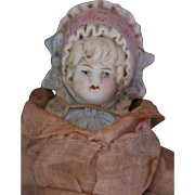 Antique Hertwig All Bisque Bonnet Girl, 7 1/2 IN, Dressed Antique German Bisque
