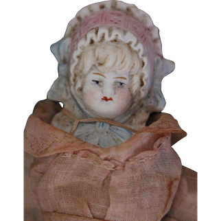 Antique Hertwig All Bisque Bonnet Girl, 7 1/2 IN, Dressed Antique German Bisque