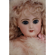 Antique Jumeau French Doll as Pink Angel, 16 IN, Antique French Bisque Doll