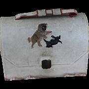 Antique Doll Satchel with Pug Dog Decoration, Doll Luggage