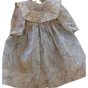 Antique Doll Dress, 1880's, Antique Cotton Print Doll Dress with Lace Collar