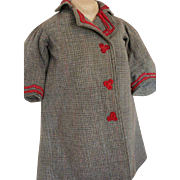 Antique Doll Coat Ca. 1910's, Antique Wool Doll Coat with Red Soutache Braid