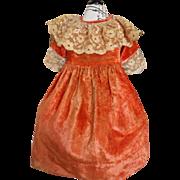 Vintage Silk Velvet Doll Dress for Antique Doll Vintage Doll Dress Velvet & Lace
