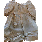 Antique Silk Doll Dress, Antique Doll Dress, Antique French Doll Dress with Lace