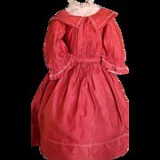 Antique Doll Dress, Antique Red Cotton Doll Dress Ca. 1860/70's Antique Dress