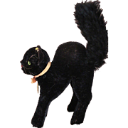 Vintage Steiff Black Cat w Button & Paper Tag, Steiff Black Tom Cat 14 CM