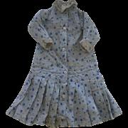 Antique Doll Dress, Antique Blue Cotton Doll Dress, 1800's, China Papier Mache
