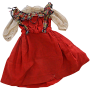 Antique Doll Dress, 1800's, For Pattern or Study, Antique Red Doll Dress TLC