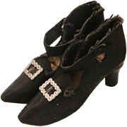 Antique Boudoir Doll Shoes, Black Boudoir Doll Shoes, Boudoir High Heel Shoes