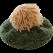 Vintage Woolen Doll Hat Vintage Wool Doll Tam Hat w Pom Pom, for Antique Dolls