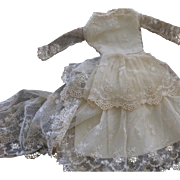 French Fashion Doll Lace Gown, Lace Netting Doll Gown Doll Dress, Artist-Made