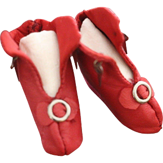 Red Doll Boots, Kid Leather Doll Boots, 2 1/8 IN, Doll Shoes Red Leather Shoes