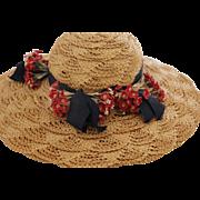 Vintage Straw Hat with Flowers, Vintage Hat, Vintage Large Doll Hat Size 22