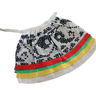 Antique Doll Apron, Antique Apron w Cross Stitch and Ribbons, 4 IN Long
