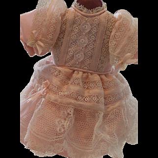 Lace Doll Dress UFDC Region 8, 1988, Tagged, Pink Dress w Fine Lace