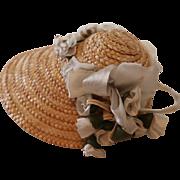 Vintage Doll Bonnet, Vintage French Fashion Doll Hat, Straw Bonnet w Ribbons