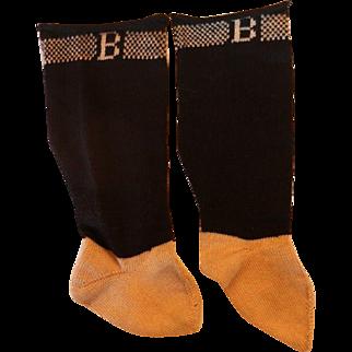 Antique Burson Doll Socks, B Socks, Antique Burson B Doll Socks, Black & Cream
