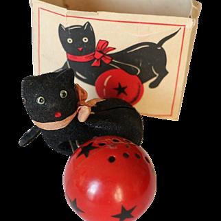 Vintage Black Cat Wind Up Toy w Box! French Toy Toulouse Minet Joue et Miaule