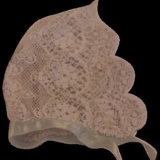 Vintage Doll Bonnet, Vintage Lace Doll Bonnet, 4 IN Vintage Lace Bonnet Doll Hat