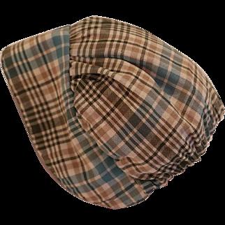 Vintage Doll Bonnet, Vintage Plaid Doll Bonnet, Cotton Plaid Doll Hat
