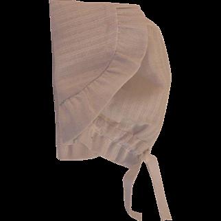 Vintage Doll Bonnet, Vintage White Cotton Doll Bonnet, Doll Hat Sunbonnet